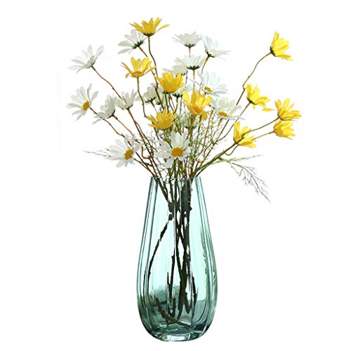 25,5 cm hoog glas bloem vaas fles met kunstbloemen, eenvoudige hydroponics plant vaas, ideale decoratie voor thuis bruiloft kantoor en partij, groen/grijs