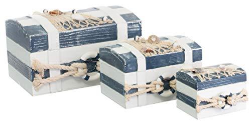 Brandsseller 3er Truhenset Aufbewahrungsboxen Deko Holzkisten Strand-Stil mit Maritimen Accessoires Blau/Weiß