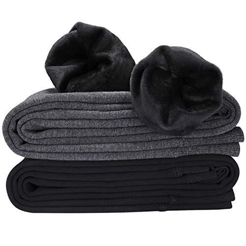 Hotelvs 2er Pack Gefütterte Leggings Damen Thermo Winter Blickdicht Samt Legging Warm, Schwarz + Dunkelgrau, Einheitsgröße