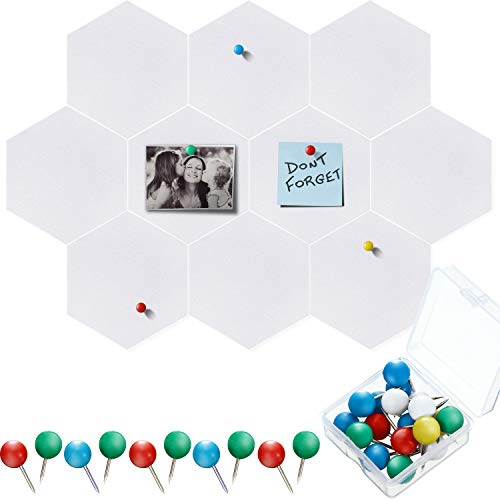 10 Packs Pin Board Hexagon Felt Board Tiles Bulletin Board Memo Board with 20 Pieces Push Pins, Decoration for Home Office Classroom Wall (White,5.9 x 7 Inches/ 15 x 17.7 cm)