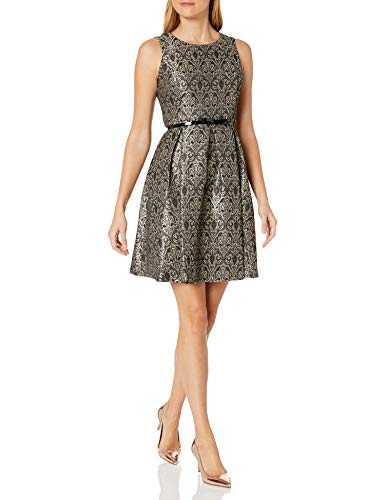 Nine West Damen Jacquard Crew Neck Fit and Flare Dress with Belt Cocktailkleid, Champagner/Schwarz, 46