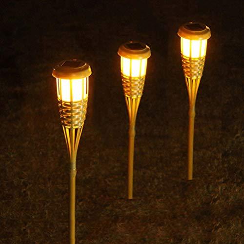 Uonlytech Solar Pathway Lichter, Solar Bambus Taschenlampen, Solar Rasen Lampe für Landschaft GardenPatio Yard (warmes Licht, 1PCS)