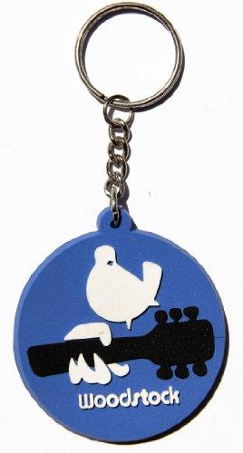 Woodstock Taube Gitarre Hippie Schlüsselanhänger Key Ring Kautschuk Gummi auch als Anhänger für Tasche