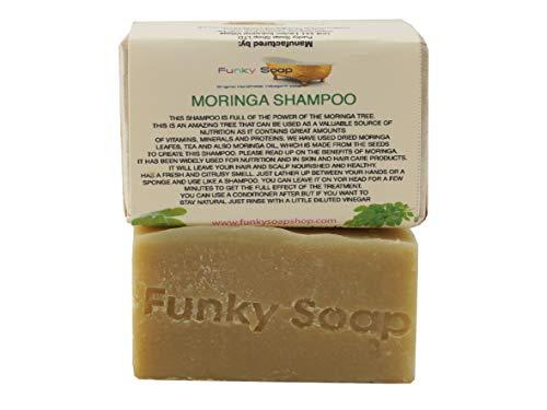 Funky Soap Moringa Champú Barra, 100% Natural Hecho a Mano, 1 Barra de 120g