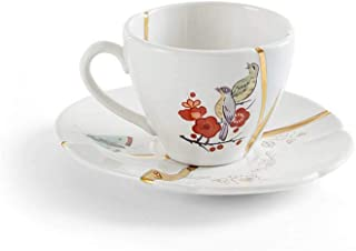 Seletti Kintsugi coffee cup with saucer in porcelain and 24 carat gold mod. 2