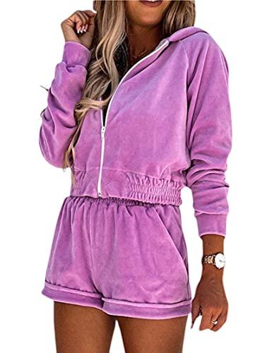 Conjunto de ropa deportiva para mujer, 2 piezas, con capucha y cintura alta y pantalones cortos anchos con bolsillos