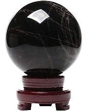 FLYAND Oficina Casa Tabla Feng Shui Decoración Bola de cristal con soporte Estándar Natural Obsidiana Bola de cristal Negro Cristal Cristal de cristal Bola de cristal Oficina Lucky Ball Feng Shui Rega