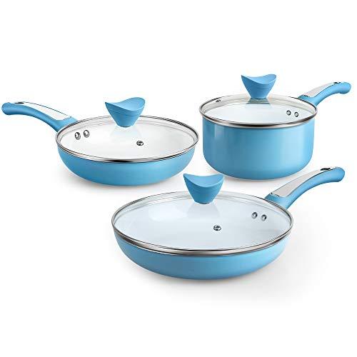 SHINEURI 6 Pieces Nonstick Cookware Set with Lid Ceramic Pots