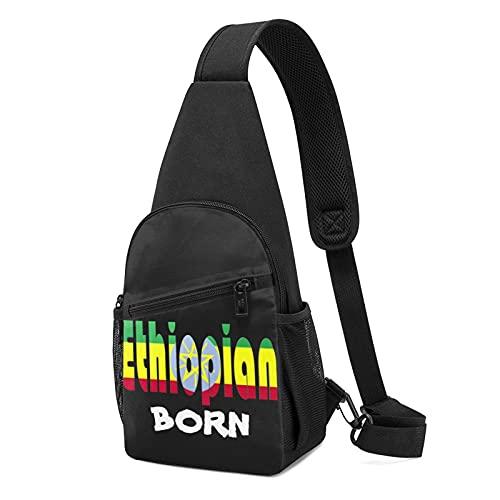 Ethiopian Born Bag Multi-Pocket Mochila de senderismo Mochila ajustable en el pecho unisex