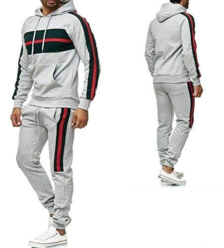 iProfash Herren Trainingsanzug/Muhammad Ali Champion/Hose + Hoodie/Slimfit (9402 Grau, S)