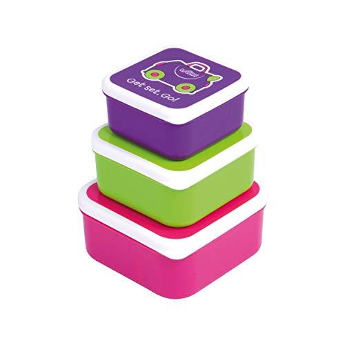 Trunki Set infantil de 3 tuppers para snacks - Trixe rosa, verde y violeta