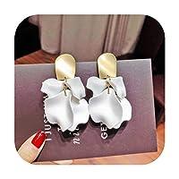 ファッションローズ花びらドロップイヤリング用女性ビジューブルーホワイトロングタッセルブラブライヤリングウェディングパーティージュエリーアクセサリーギフト-B White-