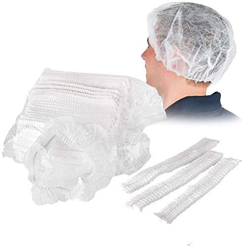 Einweg-Duschhauben aus Vliesstoff, dehnbar, Anti-Staub-Hut, medizinische Haarabdeckung für Medizin, Labor, Krankenschwester, Tattoo, Lebensmitteldienst, Krankenhaus (weiß)