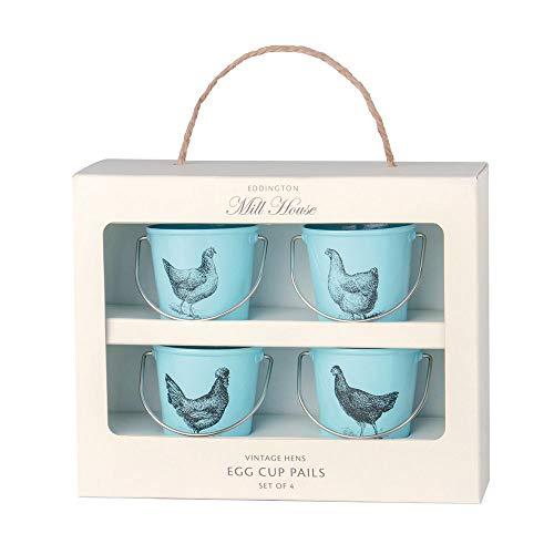 Eddingtons Juego de 4 hueveras metálicas con forma de caldero, nuevas en caja, color crema
