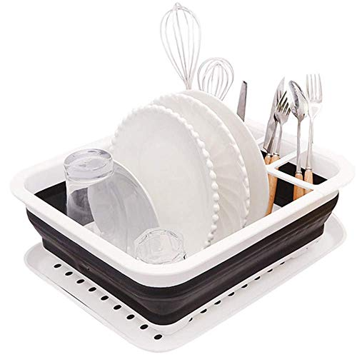 GAOZHEN Fashion Collapsible Dish Drying Rack with Tray Space, Dish Drainer Drainboard Set, for Small Kitchen Camper RV Caravan Travel Trailer