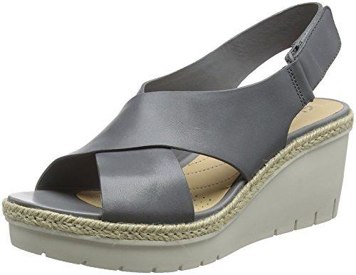 Clarks Damen Palm Glow Riemchensandalen, Grau (Grey Leather), 39.5 EU