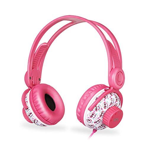 YPJKHM Auriculares para niños Límite de Volumen con Cable Interfaz de 3,5 mm compartida, 94 decibelios Volumen Limitado-Adecuado para niños, Azul, Rosa-Pink