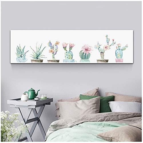 Pinturas en lienzo Impresiones Arte Cartel Decoración del hogar Nórdico 1 Piezas/pcs Flor Cactus Planta Cuadros de pared para sala de estar-50x150cm Sin marco