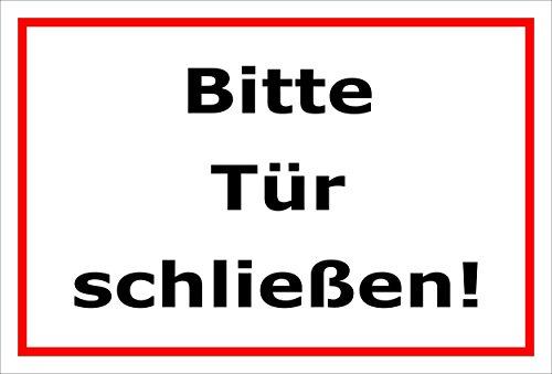 Schild Bitte Tür schließen – 15x20cm, 30x20cm und 45x30cm – Bohrlöcher Aufkleber Hartschaum Aluverbund -S00143B
