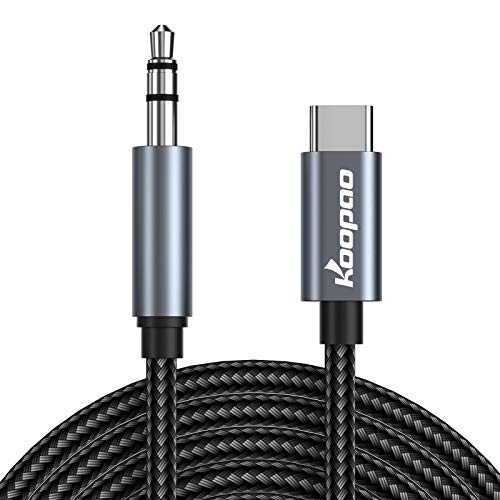 USB C to 3.5mm Audio Aux Jack Cable, KOOPAO Type C Adapter to 3.5mm Headphone Stereo Cord Car Compatible with iPad Pro 2018 Google Pixel 2 3 XL Moto Z and Galaxy Note10+ Huawei HTC (3.28Ft)