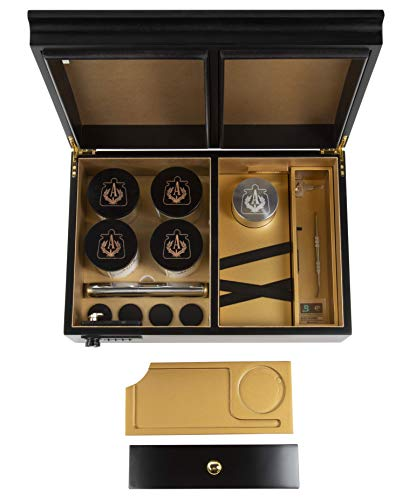 Apothecarry Case - Handmade with Built in Lock - Luxury Herb Storage Case for The Connoisseur- Full KIT (Black)