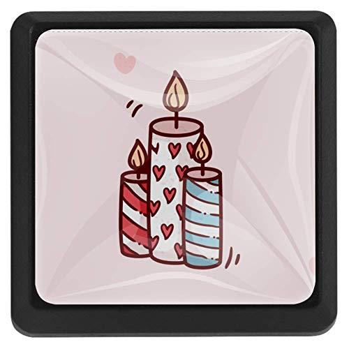 Jewel Box vierkante lade knoppen trekken handgrepen 3 Pack gebruikt voor keuken, dressoir, deur, kast Modern design 37x25x17mm/1.45x0.98x0.66in Liefde Kaars