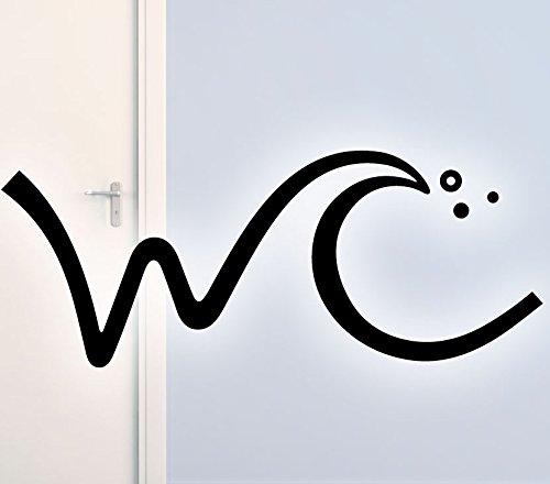 Wandtattoo-Günstig Wandtattoo Badezimmer WC I schwarz (BxH) 19 x 8 cm I Wandsticker Bad Toilette Wandaufkleber Klo Tür Aufkleber Sticker Wand G050
