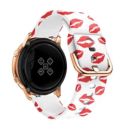 PAZHOU 20mm Reloj Correa para Samsung Galaxy Active 2 3 40mm 44mm 41mm 42mm Impresión Pulsera de Silicona Correa Amazfit GTS 2 Mini BIP (Band Color : Flaming Red Lips, Size : Watch GT 2 42mm)