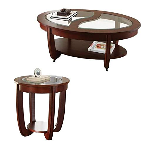 Steve Silver London 2 Piece Glass Top Coffee Table And End Table Set In Brown Buy Online In Isle Of Man At Isleofman Desertcart Com Productid 164467930