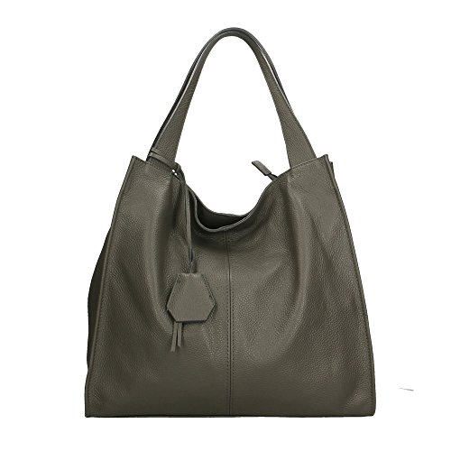 Aren - Shoulder Bag Borsa a Spalla da Donna in Vera Pelle Made in italy - 40x36x10 Cm