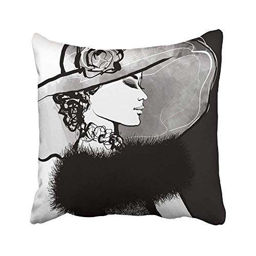 QUEMIN Fundas Decorativas para Cojines, Fundas para Mujer Joven de los años 20 con Sombrero y Piel de los años 20, 30 años, Atractivo, Hermoso, Bonito Dibujo, 18 x 18 Pulgadas