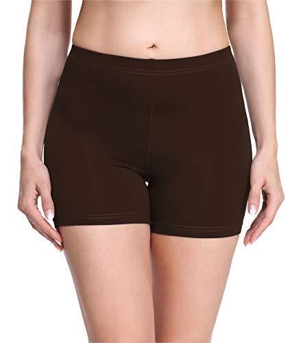 Merry Style Damen Shorts Radlerhose Unterhose Hotpants Kurze Hose Boxershorts aus Viskose MS10-283(Braun,S)