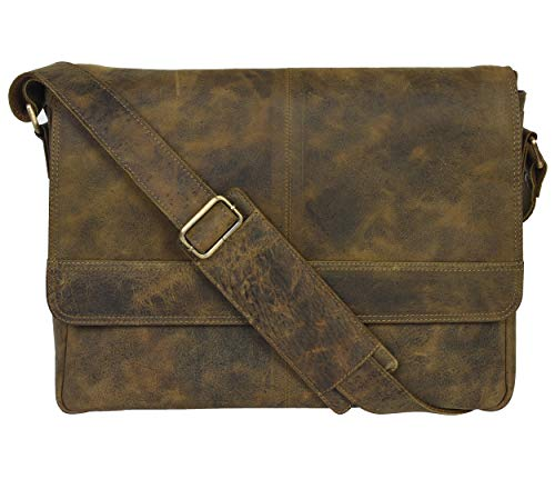 Genuine Leather Messenger Bag for Men and Women - 14 inch Laptop Bag for College Work Office by LEVOGUE (KHAKI VINTAGE)