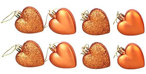 DP Packung mit 8 Kupfer Herzen Baubles - Glitter und Matt - Christbaumschmuck