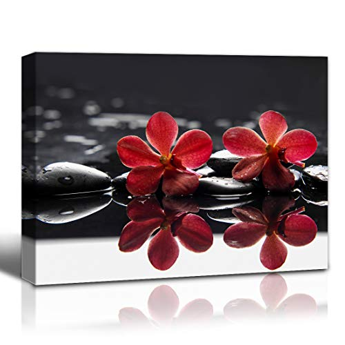 The Melody Art Red Flower Canvas Wall Art Red and Black Wall Decor for Yoga Orchid and Cobblestones pictures for Living Room Bathroom Zen Decor for Office Room Decor 12'x16' 1 Panel