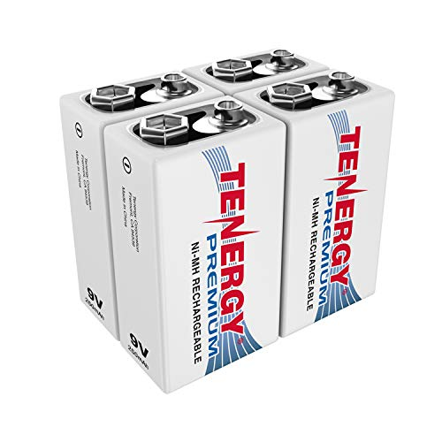 Tenergy Premium 9V Batteries Rechargeable High Drain 250mAh NiMH 9V Square Battery for Smoke Alarm/Detector, 4 Pack
