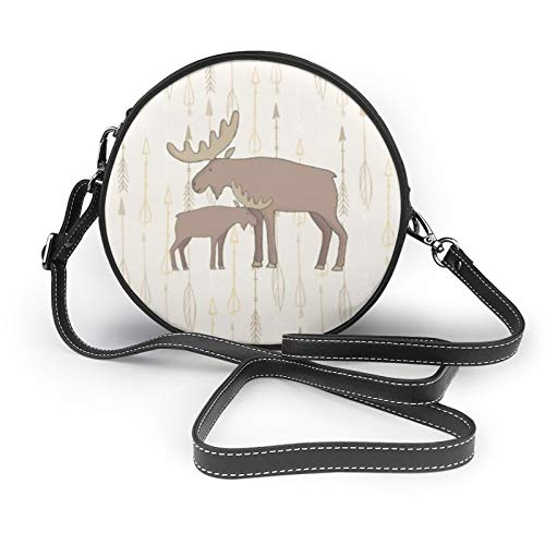Women Crossbody Bags,Moose And Baby Boho Round Shoulder Bags Fashion Cross Body Bag Black Leather Circle Cross Body Purse for Ladies