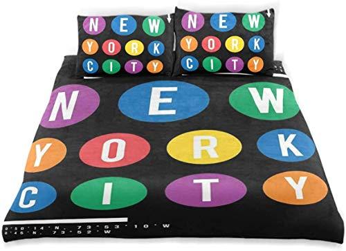 Funda nórdica, letras de la ciudad de Nueva York con dise?o tipográfico de coordenadas sobre fondo oscuro Juego de funda nórdica, no incluye edredón, juego de funda nórdica de ropa de cama moderna
