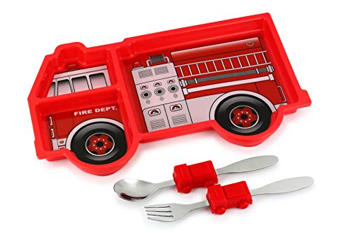 KidsFunwares Fire Engine Me Time Meal Set, Portion Control Divided Plate with Fork and Spoon for Kids …