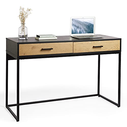 VonHaus 2 Drawer Wood Desk - Contemporary Style, Black Oak Console Table with Storage Drawers - Multiuse Dressing Table With Metal Legs and Handles - Home Office PC Desk for Bedroom