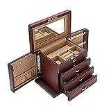 JIANGCJ Bella Gioielli Caso Organizzatore Gioielli Box Box Impianti di Gioielli in Legno Organizer Grande capacità con con Porta Gioielli Specchio