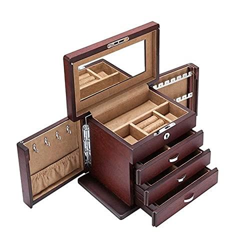 JIANGCJ Bella Caja de joyería de Madera Organizador Grande de Gran Capacidad con con Espejo Soporte de joyería
