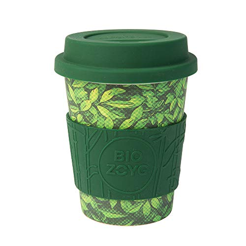 BIOZOYG Premium Bambus Kaffeebecher to go I Mehrweg Coffee to go Becher mit Deckel aus Silikon und Silikonmanschette, spülmaschinenfest BPA frei I Trinkbecher Kaffee Leafs 400 ml