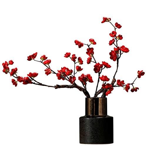 アートフラワー インドアアウトドアウェディングパーティー家の庭の装飾のための人工鉢植えの花梅 人工的な
