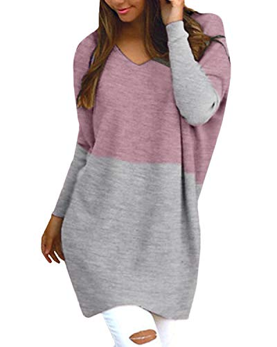 Style Dome Sweatshirt Damen Casual Langarm Rundhals Pullover Oversize Einfarbig Bluse Jumper Grau-Rosa-D03760 S