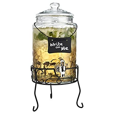 Classic Beverage Drink Dispenser Hammerd Durable Glass on Stand 1.5 Gallon with Chalk Board And Spigot