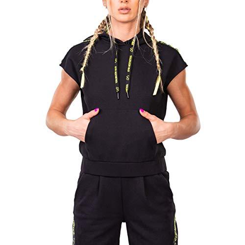 GYM AESTHETICS | Sudadera moderna con capucha para mujer, protección UV, antiestática, regulación de la humedad, bolsillos Kangeroo, para entrenamiento y otros deportes. Negro M