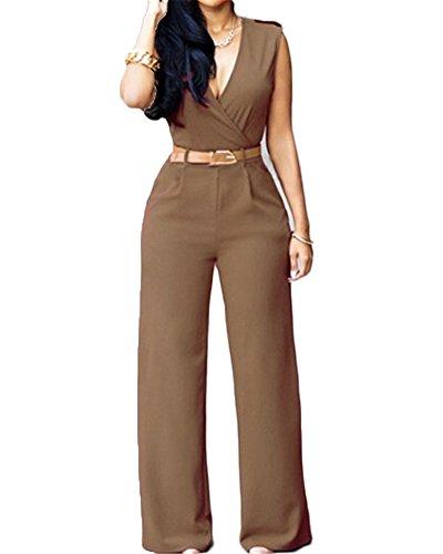 Monos Mujer De Vestir Largos Elegantes Sin Manga Alto Cintura Casual Monos Largos Pantalones Clubwear Caqui XL