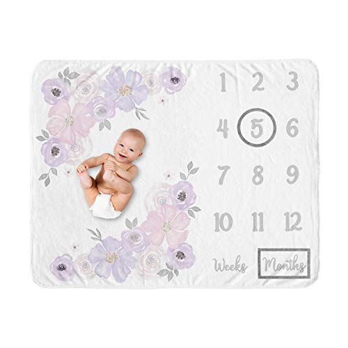 Sweet Jojo Designs Watercolor Floral Girl Milestone Blanket Monthly Newborn First Year Growth Mat Baby Shower Memory Keepsake Gift Picture - Lavender Purple, Pink and Grey Boho Shabby Chic Rose Flower
