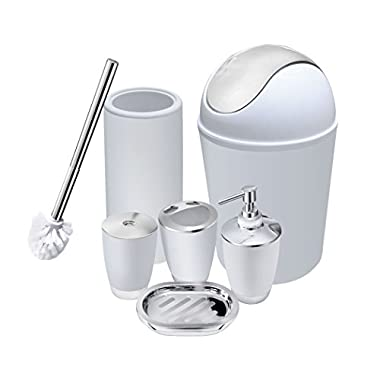 6 Piece Bathroom Accessories Set,Plastic Bath Ensemble Bath Set Lotion Bottles, Toothbrush Holder, Tooth Mug, Soap Dish, Toilet Brush, Trash Can (white)